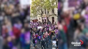 Thousands march against femicide, domestic violence in Paris