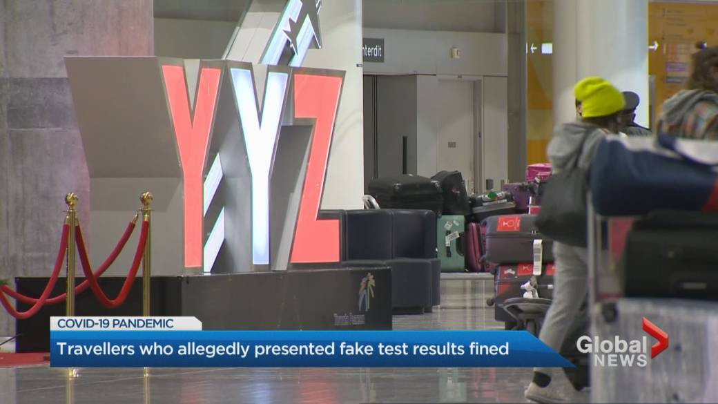 Click to play video: 'Travellers who allegedly presented fake COVID-19 test results fined'