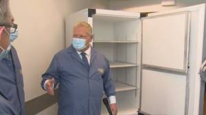 Premier Doug Ford visits facility that will be used to store COVID-19 vaccines (01:15)
