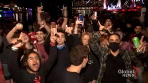 Fans in Florida celebrate after Tampa Bay Buccaneers win Super Bowl LV (01:52)