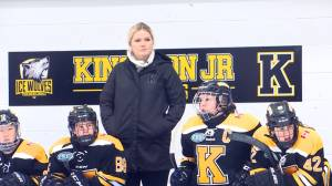 Shelby Perry is enjoying her first year as a coach with the Kingston Junior Ice Wolves