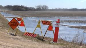 Rising flood waters in Manitoba over the Easter weekend