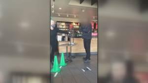 Man in video showing confrontation at Vancouver Island Starbucks fined twice for not wearing a mask (01:23)