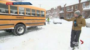 EMSB warns of school bus delays as Montreal blanketed with more snow
