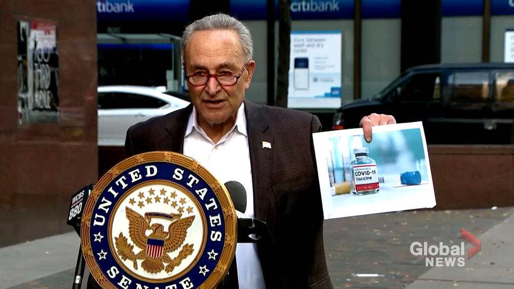Click to play video 'Coronavirus: Schumer pushes for U.S. Senate to vote on bill that would allow funding for state COVID-19 vaccine rollout'