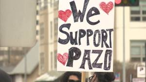 Dozens rally outside of Edmonton police headquarters seeking justice for Pazo (01:57)