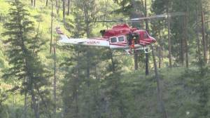 Helicopter rescue in Kelowna's Canyon Falls Park where hiker suffers head injury