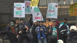 Pre-season NBA game draws protests to Vancouver