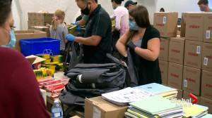 1,500 backpacks crammed with school supplies for underprivileged kids in Saskatoon