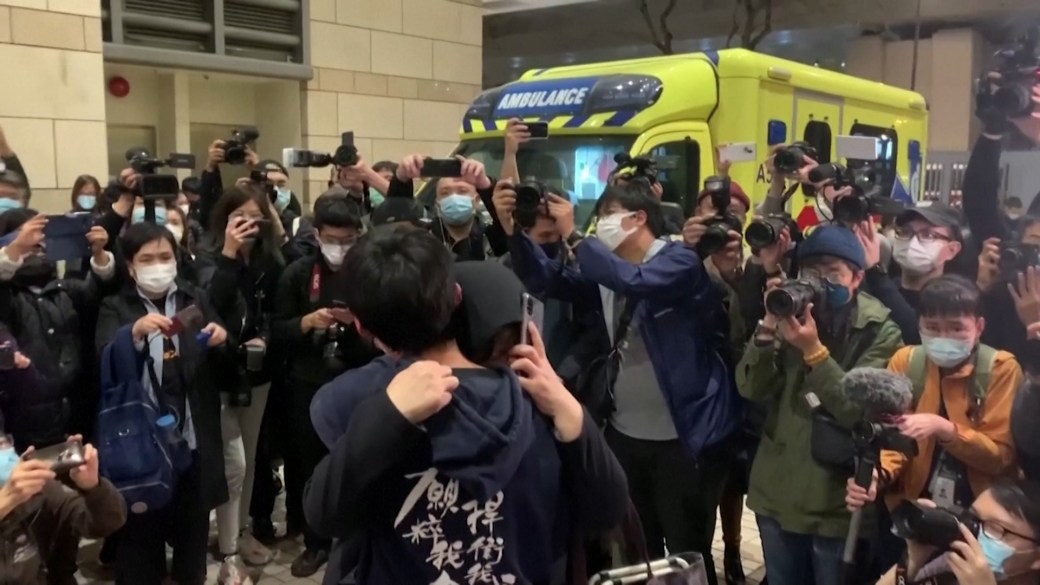Click to play video 'Hong Kong democracy campaigners kept in custody after marathon bail hearing'