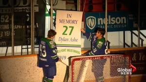 Melfort Mustangs honour 18-year-old defenceman Dylan Ashe (01:51)