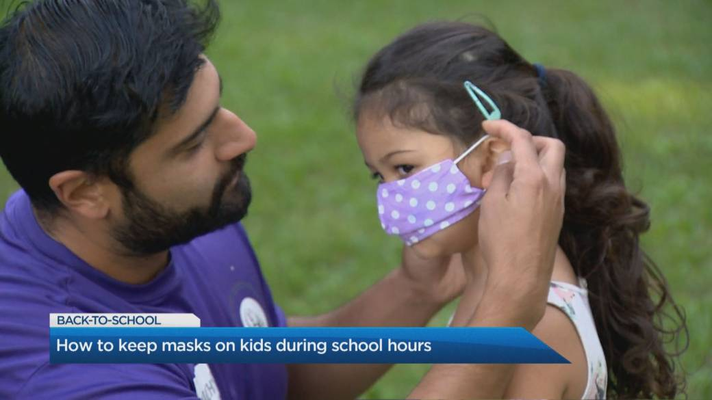 Click to play video 'Easy ways to make sure your child keeps their mask on'