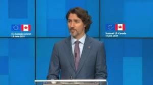 Trudeau announces trade agreement with EU (02:50)