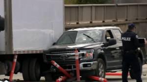 Man shot dead after suspect driving stolen vehicle crashes into work site, Toronto police allege (02:47)