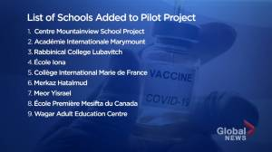 Montreal school vaccination pilot project expanded (01:50)