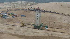 Danish Lighthouse wheeled to safety to avoid coastal erosion threat