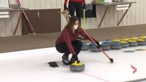 Curling 101: Katrina Squazzin and Caley Bedore learn to curl (03:11)