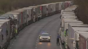 U.K.-France COVID-19 border closure hinders truck drivers (02:26)