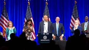 Cory Booker jokingly calls himself 'Dwayne Johnson' after mistakenly introduced as Sen. Michael Bennett (00:34)