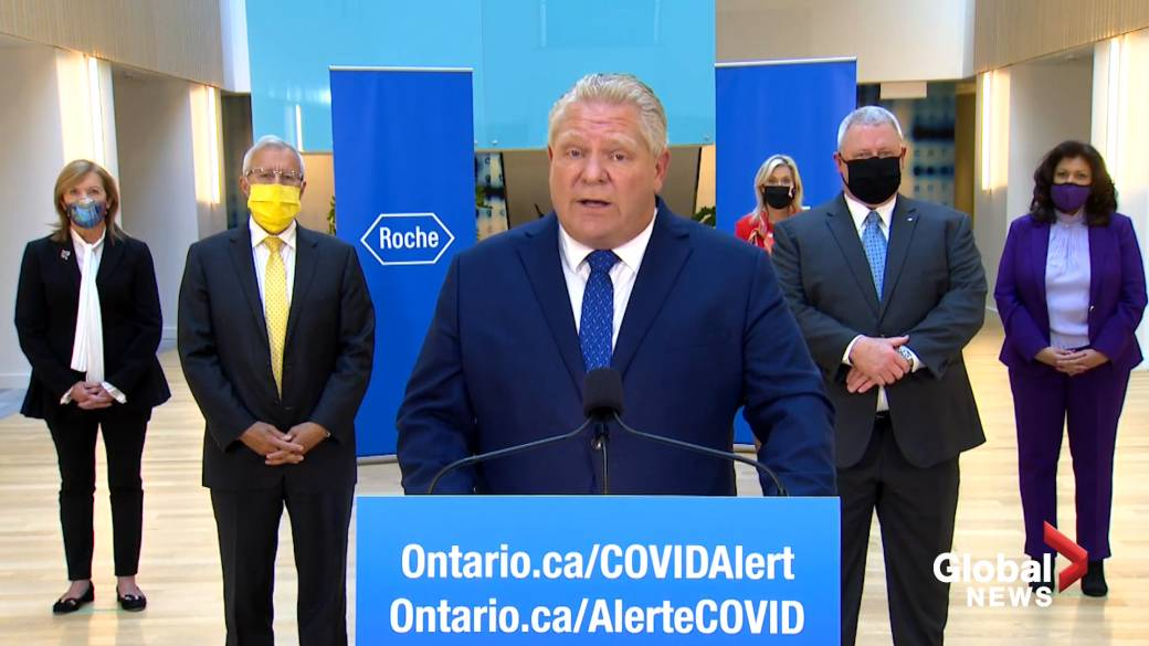 Click to play video 'Coronavirus: Ontario Premier Ford announces York Region moving back to a modified Stage 2'
