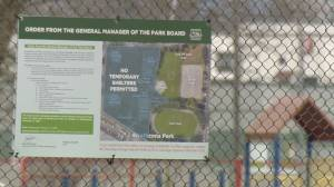 Fences, signs up to clear half of Strathcona Park tent city (01:34)