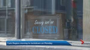 York Region heading into coronavirus lockdown on Monday (03:21)