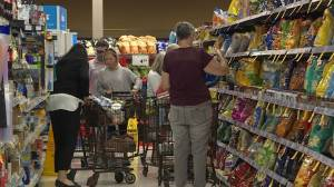 Residents stocking on water, food and other necessities in preparation for Dorian
