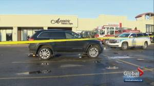 Serious pedestrian collision in Calgary parking lot sends senior to hospital (02:10)