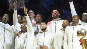 Toronto Raptors presented with rings, championship banner at home opener