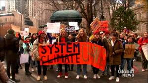 Youth protest climate change in New York City, chanting for end to fossil fuels
