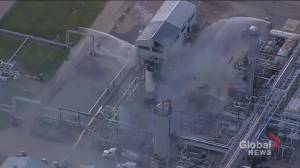 Fire burning at  Plains Midstream refinery near Fort Saskatchewan (02:06)