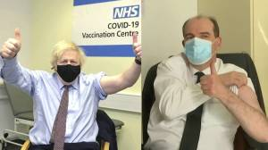 COVID-19: UK PM Johnson, France PM Castex receive AstraZeneca vaccine doses (02:43)