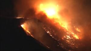 Aerials show new Maria wildfire burning in California