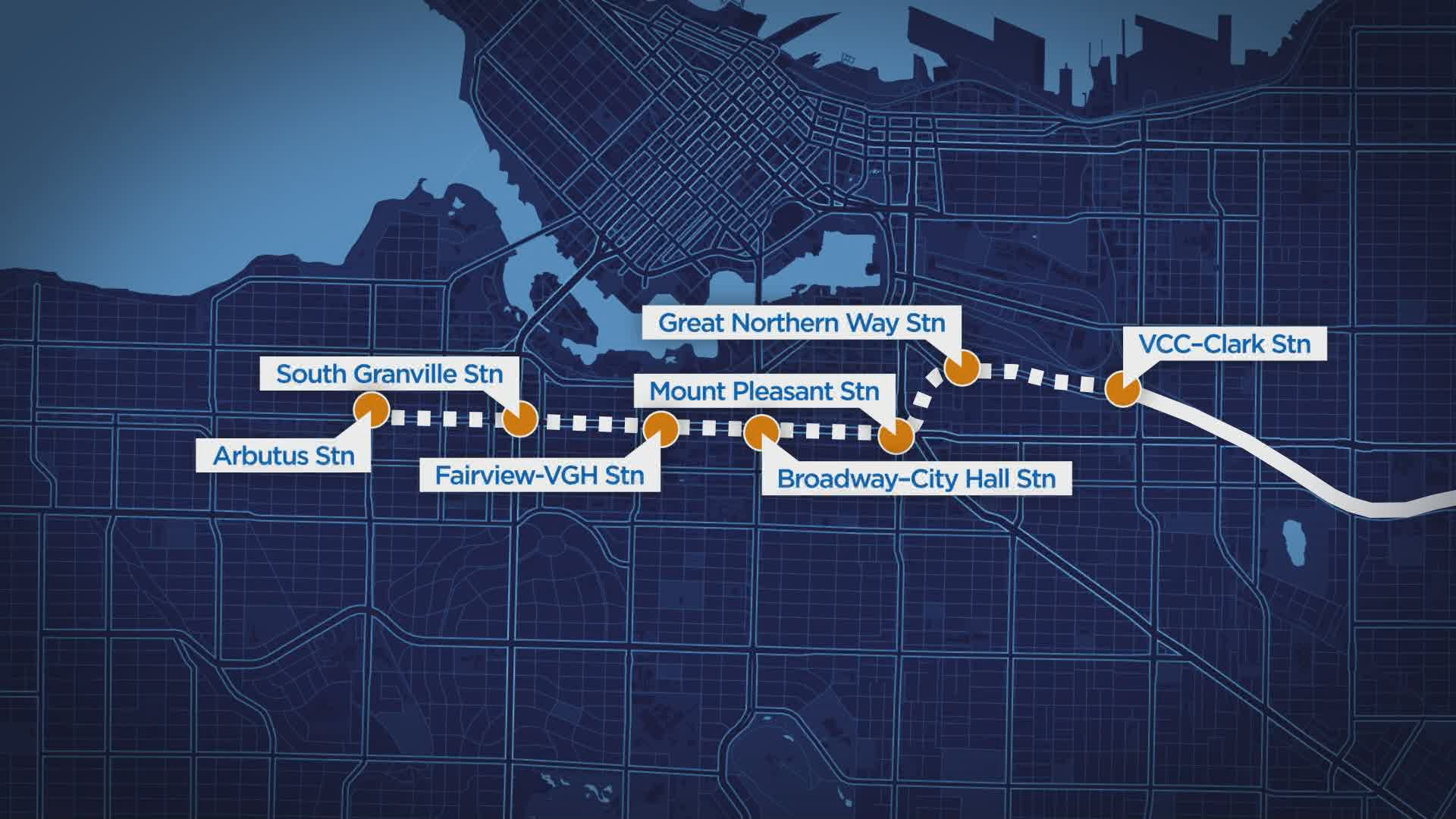 Province unveils six Broadway Subway station locations