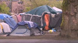 Province unveils plan to shelter tent city residents in Vancouver and Victoria (02:06)