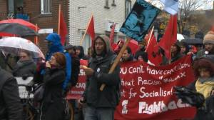 Montreal protesters rally in the rain against Bill 21