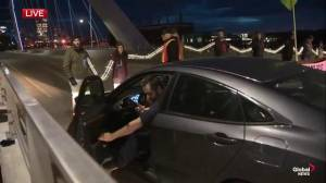 Climate change activists and drivers clash at Walterdale #BridgeOut blockade in Edmonton