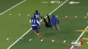 Texas high school football player bowls over referee, faces assault charges (02:32)
