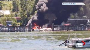 Multiple boats destroyed in Salmon Arm marina fire