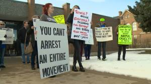 Supporters gather outside Fort Macleod courthouse as turkey farm protesters face charges