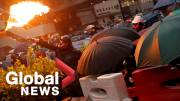 Play video: Hong Kong protests: Mall barricaded after petrol bombs, tear gas, and bricks thrown