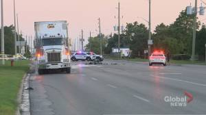 Motorcyclist dead after collision with transport truck in Brampton