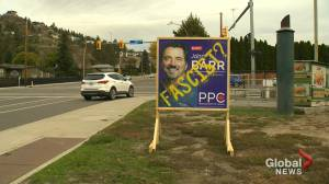 """Destroying the democratic process"": says Okanagan candidate, who had his election signs vandalized."