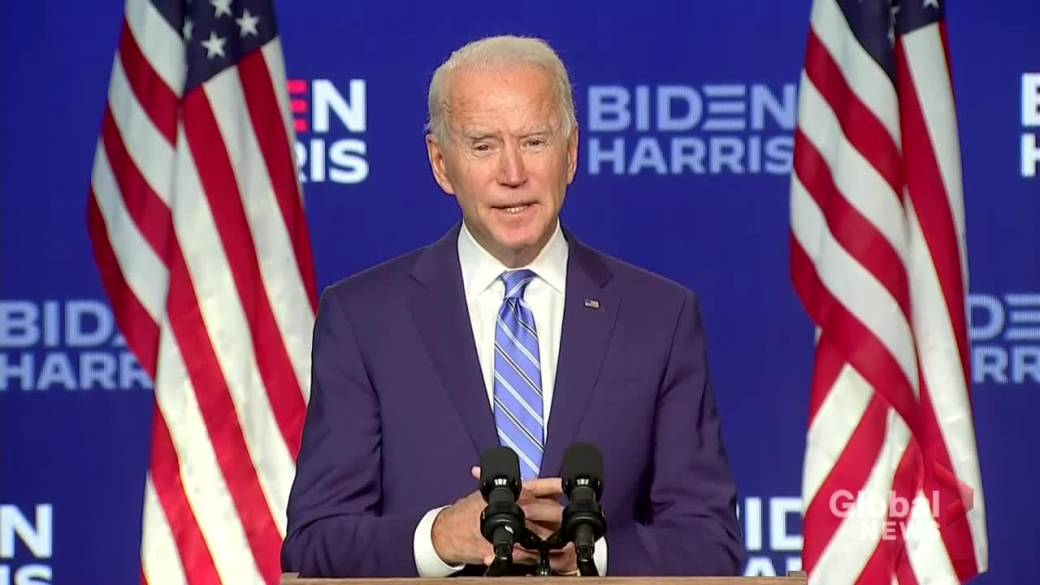 Click to play video 'U.S. election: Biden says he's optimistic about results, careful not to declare premature victory'