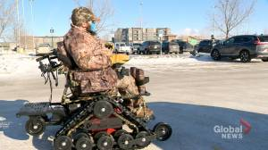 'Choked me up': motorized wheelchair takes hunter into bush for the first time (01:55)