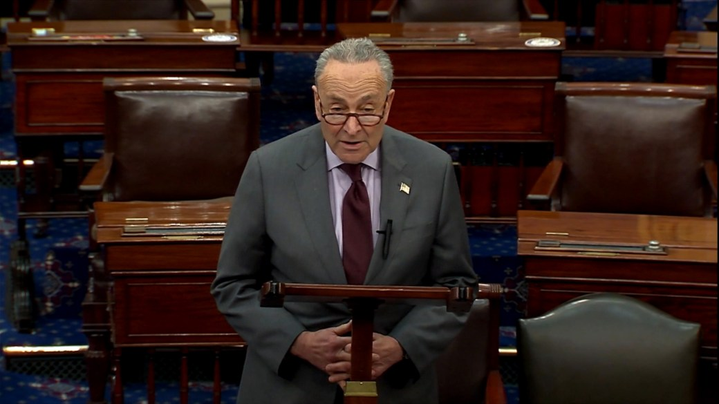 Click to play video 'Schumer outlines Trump impeachment trial timeline, says it will begin February'