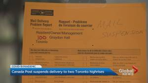 Canada Post suspends service to 2 North York buildings after residents seen not wearing masks (02:17)