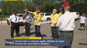 What's Brewing? Saskatchewan senior walks 260km to raise funds for sick kids in Sask. (02:28)