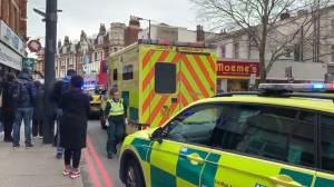 Man shot by police following 'terrorist-related' stabbing incident in London (00:51)
