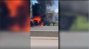 Transport truck catches fire on Hwy. 401 in Northumberland County